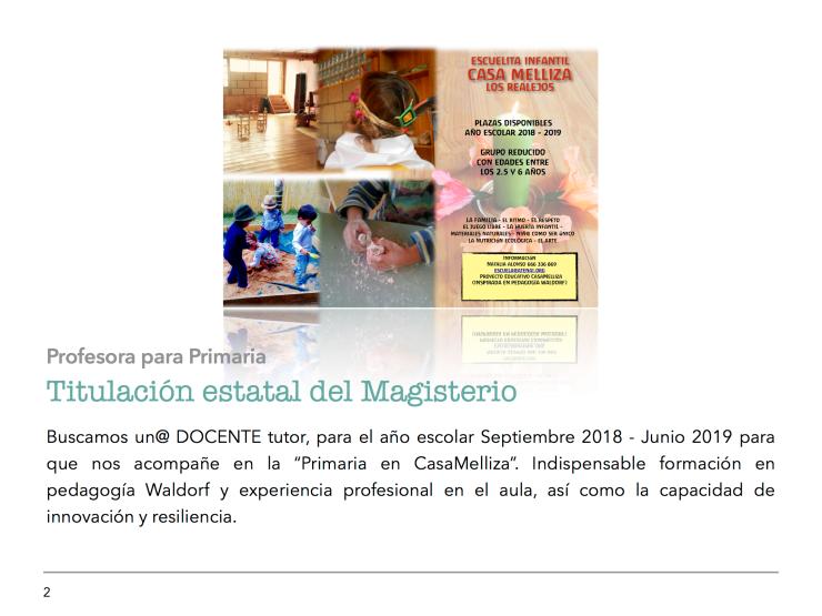 Oferta de Empleo Proyecto Educativo CasaMelliza 2